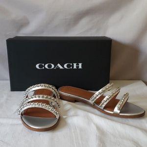 Coach ISABC MTLE Silver Sandals